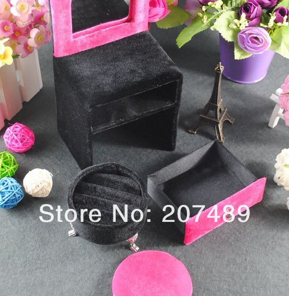 mini furniture dresser velvet jewellery box case organizer storage display for earring ring necklace for gift wholesale(China (Mainland))