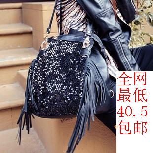 2013 bags fashion all-match women's handbag paillette tassel bag shoulder bag backpack multi-purpose backpack(China (Mainland))