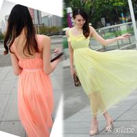 2013 summer c8546 bohemia ruffle racerback slim waist chiffon spaghetti strap full dress jumpsuit