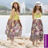 2013 summer women's 378705 bohemia print chiffon beach dress jumpsuit full dress
