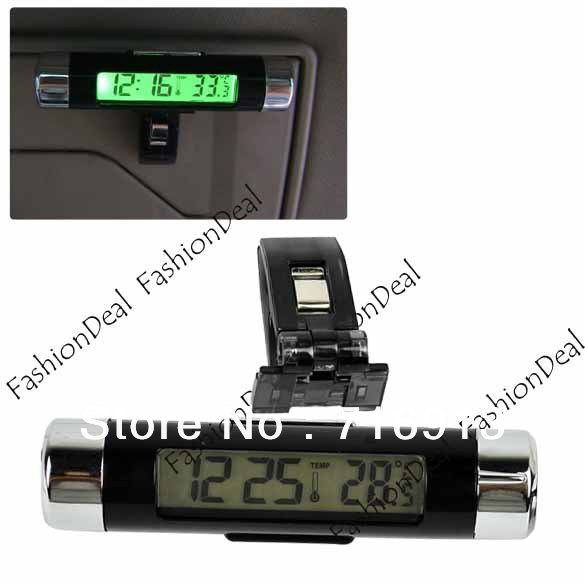 2013 New Fashion Bicycle LCD Clip-on Green Backlight Digital Thermometer Car Clock Drop Shipping 12318(China (Mainland))