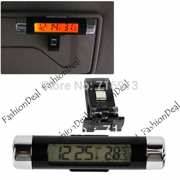 2013 New Fashion Bicycle LCD Clip-on Orange Backlight Digital Car Thermometer Clock Drop Shipping 12318(China (Mainland))