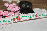 Green leaves red strawberry Free Shipping 1.7cm  Woven Jacquard Cotton Embroidered Ribbon 10 yards