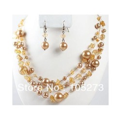 Charming 18'' Gold Crystal Beads Sea Shell Pearl Necklace 925 Silver Earrings Long Illusion Bridesmaid Jewelry New Free Shipping(China (Mainland))