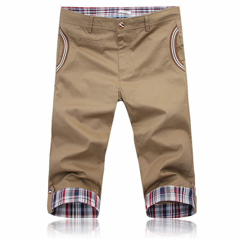 2013 casual male shorts male plaid roll up hem slim knee-length pants male beach pants(China (Mainland))