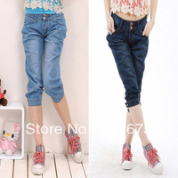 2013 breeched harem pants denim capris plus size knee length trousers female trousers Free shipping Jeans