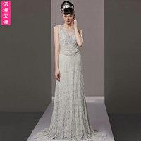 Sexy 38129 V-neck cutout lace formal dress the bride dress long train design slim formal dress