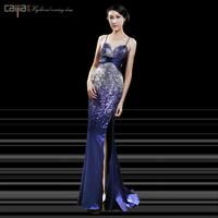 Fashion luxury beading paillette sexy racerback slim long star design evening dress evening dress