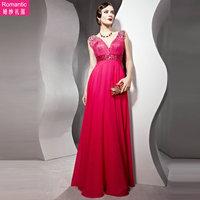 85663 rose wedding dress bride formal dress double-shoulder long deep V-neck 2013 design evening dress