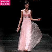 68055 V-neck deep pink formal dress the bride wedding dress the wedding evening dress formal dress performance ruslana