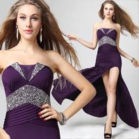 Dinner party ktv evening dress purple Deep tube top long design