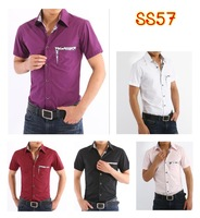 2013 summer short-sleeved shirt Slim Casual Shirts increasing large yards XS-4XL special offer free shippingSS57