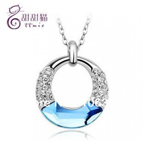 Free shipping TA Fashion 925 Silver & Zircon Artificial Crystal Pendant Necklace Trinket Women/Girl Gift(China (Mainland))