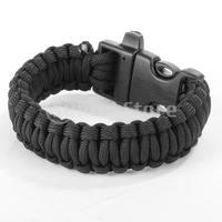 Free Shipping Paracord Parachute Cord Survival Bracelet - Black
