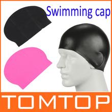 Durable Stylish Sport Sporty Latex Swimming swim Cap Hat Black/Hot pink Free shipping(China (Mainland))
