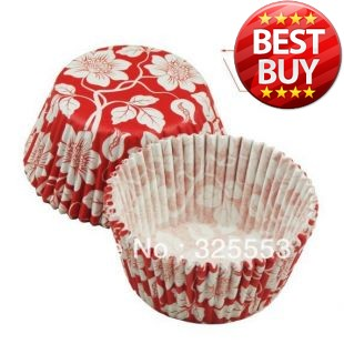 200pcs red damask paper cupcake liners promotion for wedding(China (Mainland))
