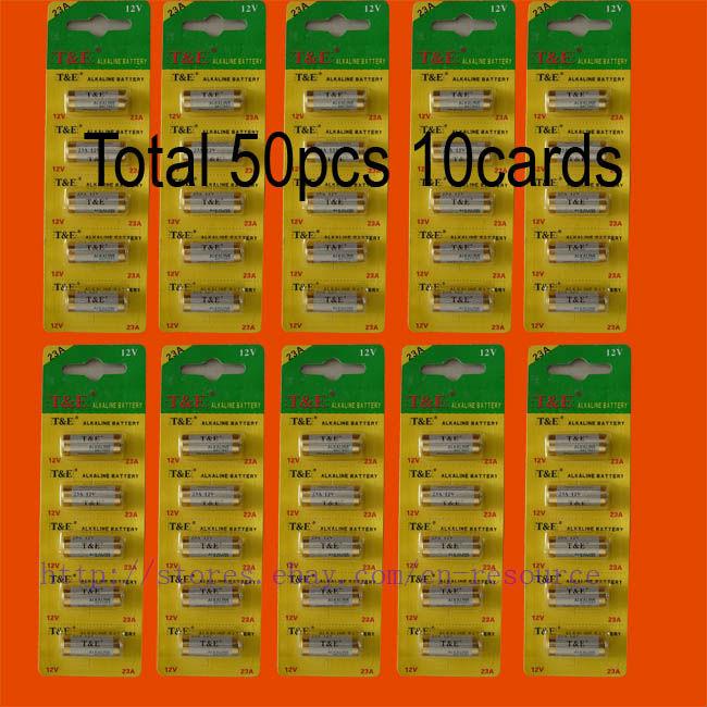 50 x 23A 12v Batteries 23AE MS21 A23 V23GA VR22 MN21 N(China (Mainland))