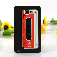 2pcs/lot free shipping for cassette tape silicone case cover for  Samsung Galaxy  NOTE N7000 i9220 black and white color