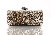 Leopard print fashion box clutch bag evening bag women's bags coffee