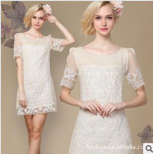 2013 summer new handmade organza disk flowers crocheted lace silk dress Slim plus size dress for women free shipping