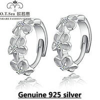 wholesale 100% pure 925 sterling silver platinum flower crystal stud earrings fine jewelry GE036