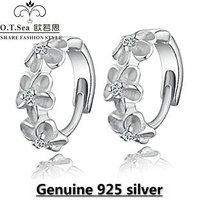 wholesale 100% pure 925 sterling silver platinum flower crystal stud earrings fine jewelry GE036