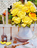 Free shipping  New paintings ribbon embroidery stitch color of yellow roses 3D printing living room dining