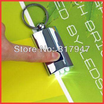 50pcs/lot Mini Solar Panel Power Powered 3 LED Flashlight Torch Keychain Ring Zinc Alloy Metal Sports Light Wholesale and Retail
