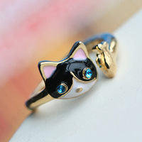 Free Shipping! Min. Order is 10USD(Can Mixed Order) Fashion personalized drip oil drill kitten open finger ring