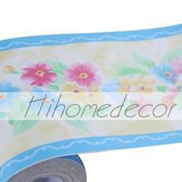 Fashion Flowers Pattern Self Adhesive Roll PVC Borders Wallpaper