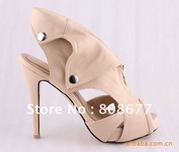 Drop Shipping Sexy Genuine Leather Skull Rivets Ladies Summer Sandals, Cut-Outs High Heel Shoes