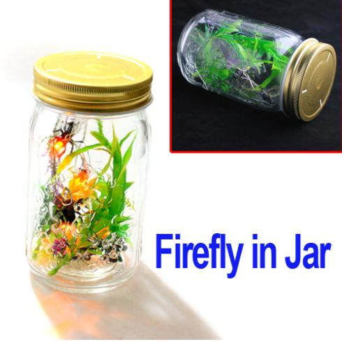 LED Colorful Firefly Night Light Changing Lamp Yellow Firefly in a Glass Jar Easy operation,Freeshipping Dropshipping Wholesale(China (Mainland))