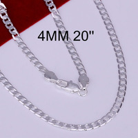 Hot! free shipping wholesale 925 silver necklace, 925 silver fashion jewelry 4mm Necklace-20 inches N132-20