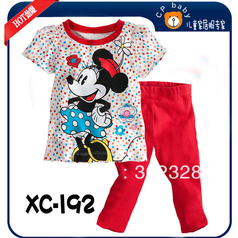 2013 New Minnie style Girls Clothing short Sleeves shirt + Long pants Set Kids Clothes Toddlers 2pcs set Free Shipping(China (Mainland))