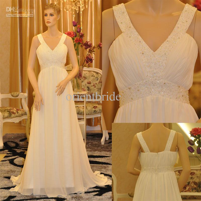 Modern V-neck Crystal Sequin White A-line Chiffon Court Train Reception Wedding Dresses Bridal Gowns(China (Mainland))