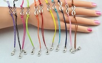 2013 New Fashion Colorized Cotton Paraffined Rope Chain Silver Infinity Bracelet Free Shipping Wholesale 55PCS/LOT