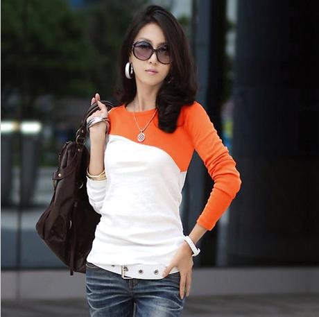NewFree Shipping Discount! New Fashion 2012 Autumn and Winter Ladies Long Sleeve T shirt Mixed Colors Women Tees220(China (Mainland))