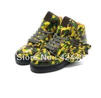 Free shipping Man & Women Jeremy Scott Wings Shoes camo-yellow jeremy scott wings sneakers camo-yellow js wings shoes AD26