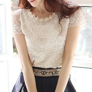 High Street fashion Summer Women's Chiffon Short-sleeve Shirts Lace Tops Beading Embroidery O-Neck Blouse Free Shipping LSH8027