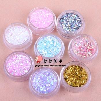 Nail art accessories diy nail art glitter shining paillette powder laser chip multicolor  6pcs/set
