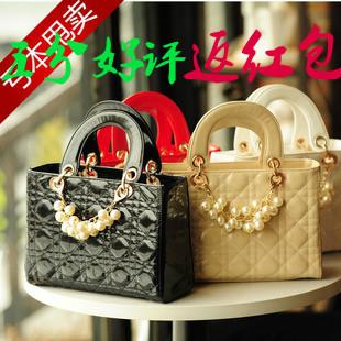 Smart Bags 2013 Women's  Fashion Plaid Pearl Handbag Bridal PU Leather Bags with Good Quality JS-195 Free Shipping