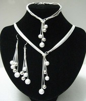925 Set-PBJS121/ wholesale silver Balls Sterling silver Necklace & bracelet & earring jewelry set.Free shipping,BEST SELLING !