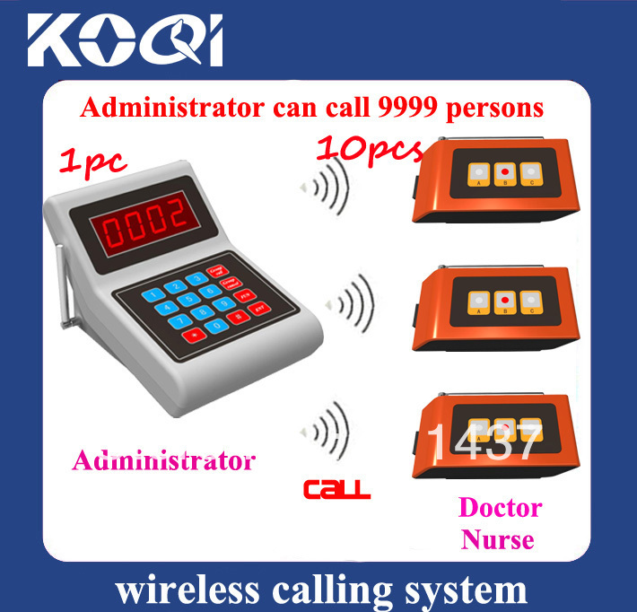 Doctor office pagers hospital pager For buzzing doctor or nurse when patient vist your clinic or hospital (1pc K-MAIN+10pcs K-S)(China (Mainland))