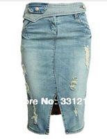 top quality,european and usa style!New spring and summer 2014 fork design  scratches holes  sexy  denim skirt