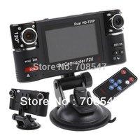 "2.7"" TFT LCD vehicle Car DVR   HD  camera dvr    Car Black Box F20Dual  Lens + Night Vision IR LED+G-Senso+H.264 Freeshipping"