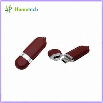 Full capacity Brown 1GB, 2GB, 4GB, 8GB,16GB Leather USB Flash Disk sticks, pendrive gifts HT-501