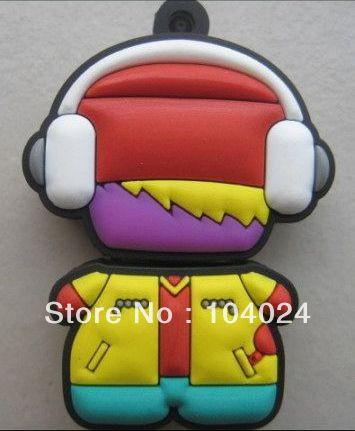 Fast ship 4gb 8gb 16gb 32gb rubber music listener kid USB 2.0 flash drive memory pen disk(China (Mainland))