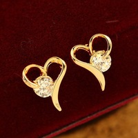 Min order $10 free shipping (mix order) Korean style fashion sweet heart-shaped plated 18K real gold crystal earrings