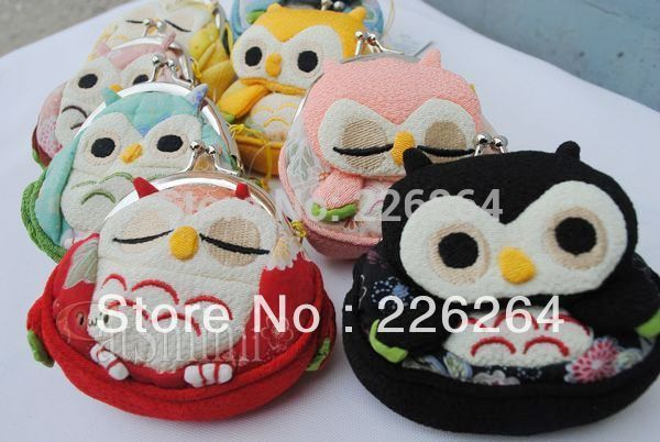 Wind lucky cat owl coin purse silk frog mouth bag(China (Mainland))