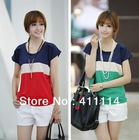 2013 new fashion plus size t shirt women clothing summer sexy tops tee clothes blouses t-shirts Loose   Trend
